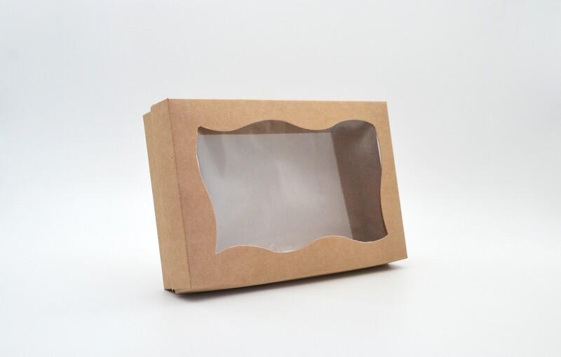 Box Base & Lid + Window Kraft 200x130x40mm (ea)