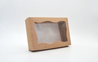 Box Base & Lid + Window Kraft 200x130x40mm (ea)