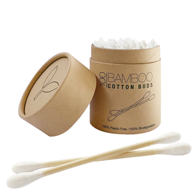 Organic Bamboo Cotton Earbuds in Paper Tub (Qty 100)