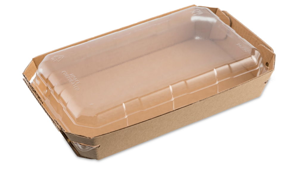 Currugated Fluted Tray Kraft & Lid PET 170 x 95 mm (Qty 50)