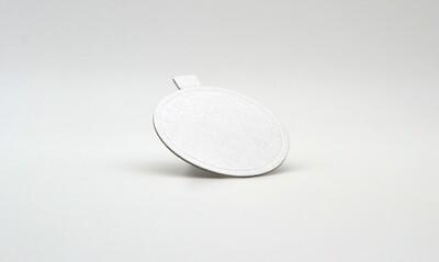 Mini cake board round white embossed 75 x 75 mm (ea)