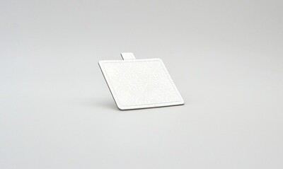 Mini cake board square silver embossed 100 x 90 mm (ea)