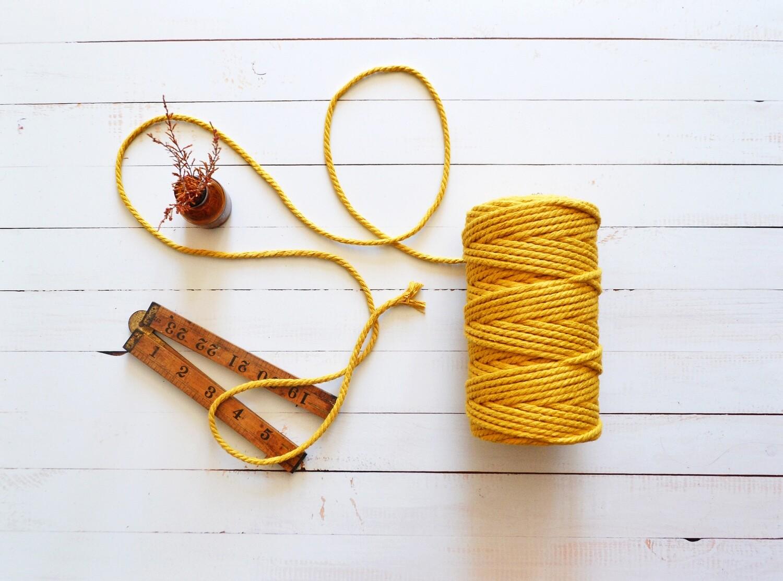 Macrame Luxury 100% Cotton Cord 3Ply- Mustard 4mm x 500g
