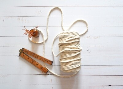 Macrame Luxury 100% Cotton Twine 3Ply-Natural 4mm x 500g(ea)