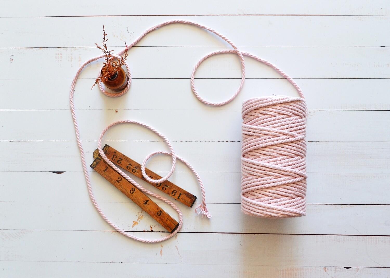 Macrame Luxury 100% Cotton Cord 3Ply- Pink 4mm x 500g