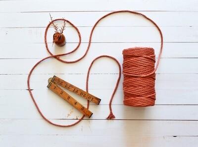 Macrame Luxury 100% Cotton Cord 3Ply-Rust 4mm x 500g