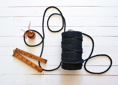 Macrame Luxury 100% Cotton Cord 3Ply-Black 4mm x 500g