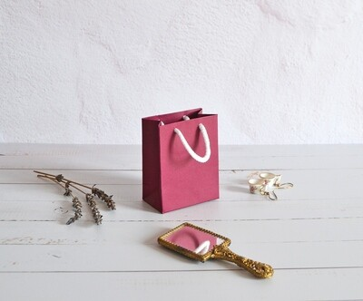 Tiny Rope Handle Paper Bag - Cranberry (each)