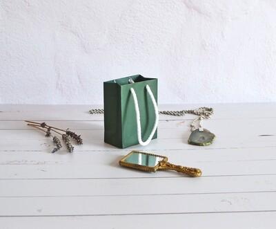 Tiny Rope Handle Paper Bag - Viridian green (each)