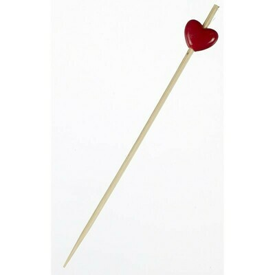 Skewer Bamboo Red Heart 12cm (Qty 200)