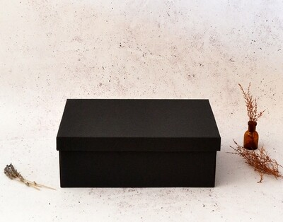 Corrugated Base & Lid Shoe Box 205x340x120mm - Black (ea)