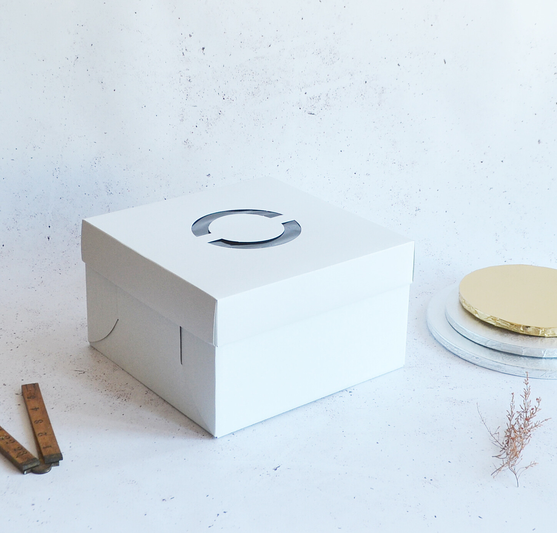 Cake Box Corrugated White 10
