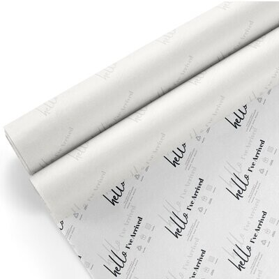 Tissue Paper - Hello I've Arrived - Grey on White - (Qty 25)