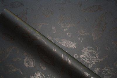 Tissue Paper - Vintage Flowers - Black On Black (Qty 25)
