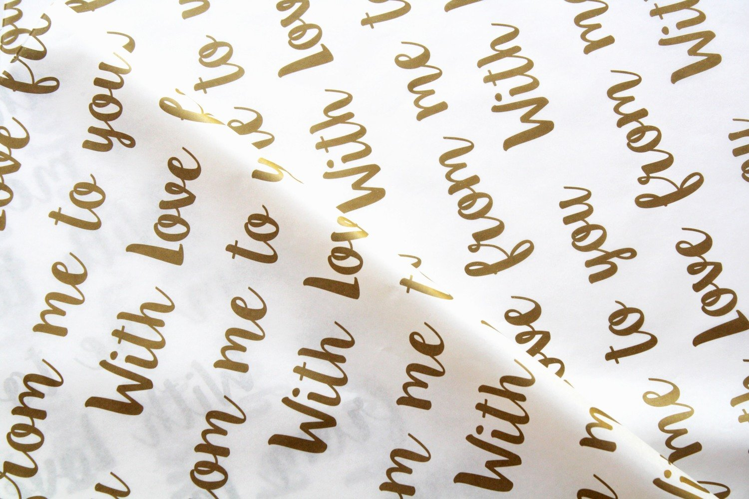 Tissue Paper- With Love - Gold On White (Qty 25)