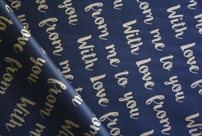 Tissue Paper- With Love  - Gold On Black (Qty 25)