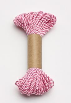 Bakers Twine 10 m x 2 mm - Hot Pink & White (ea)