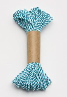 Bakers Twine 10 m x 2 mm - Teal & White (ea)