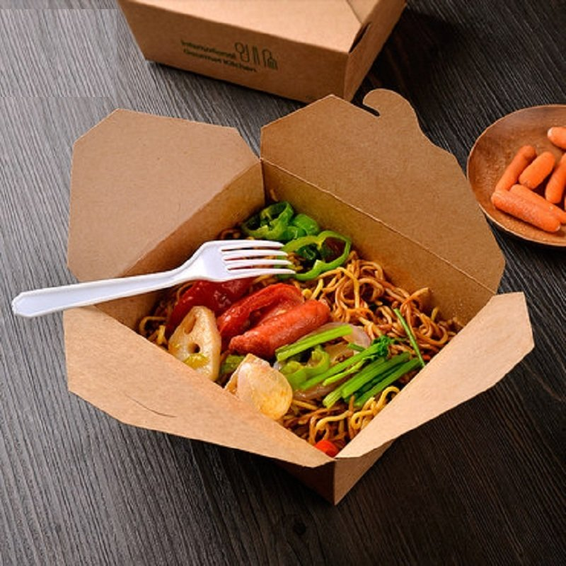 BIO Food Compostable (PLA) Lunch Box - Kraft #8 (Qty 50)