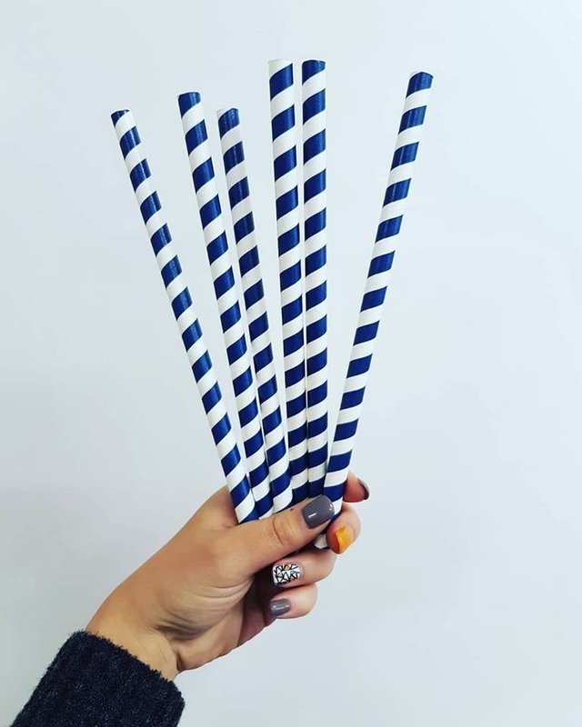Straws Paper 10mm - Stripe Navy & White (Qty 100)