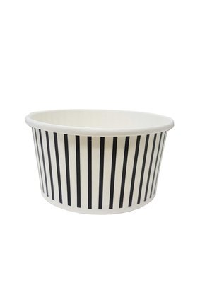 Tub Ice Cream Vintage 180ml - Black & White Stripe (Qty 50)