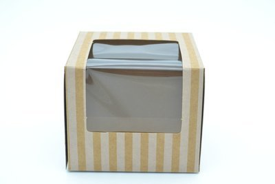 CupCake Single Box Window Kraft - Stripe White (ea)