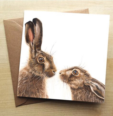 ❤️ Kissing Hares Greeting Card In Stock For Next Working Day Delivery