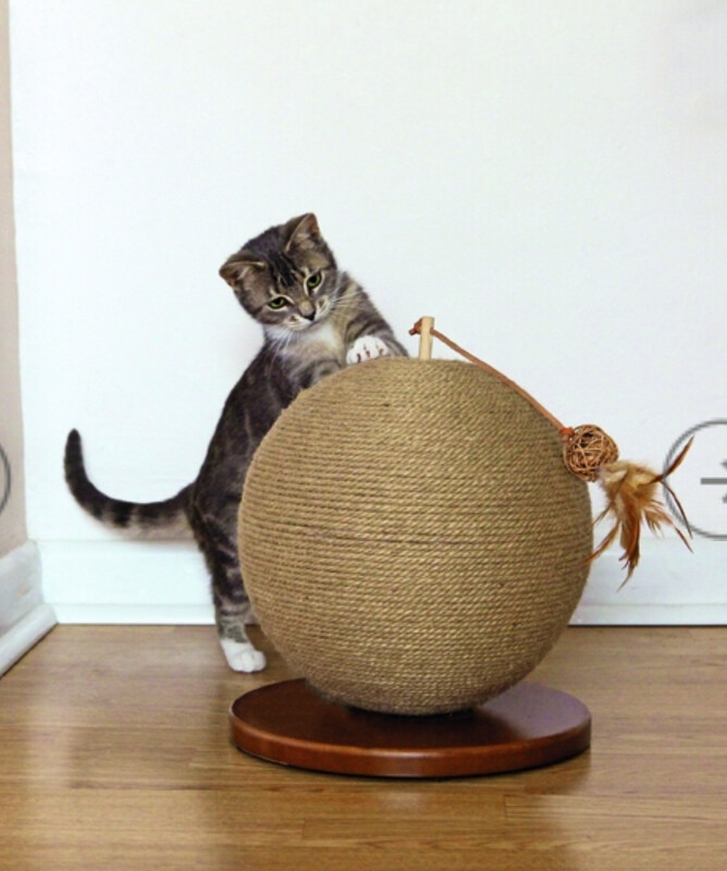 Rosewood Parsley Jute Rope Catnip Sphere Scratch Post Cat Activity Boredom Breaker RRP £26.99