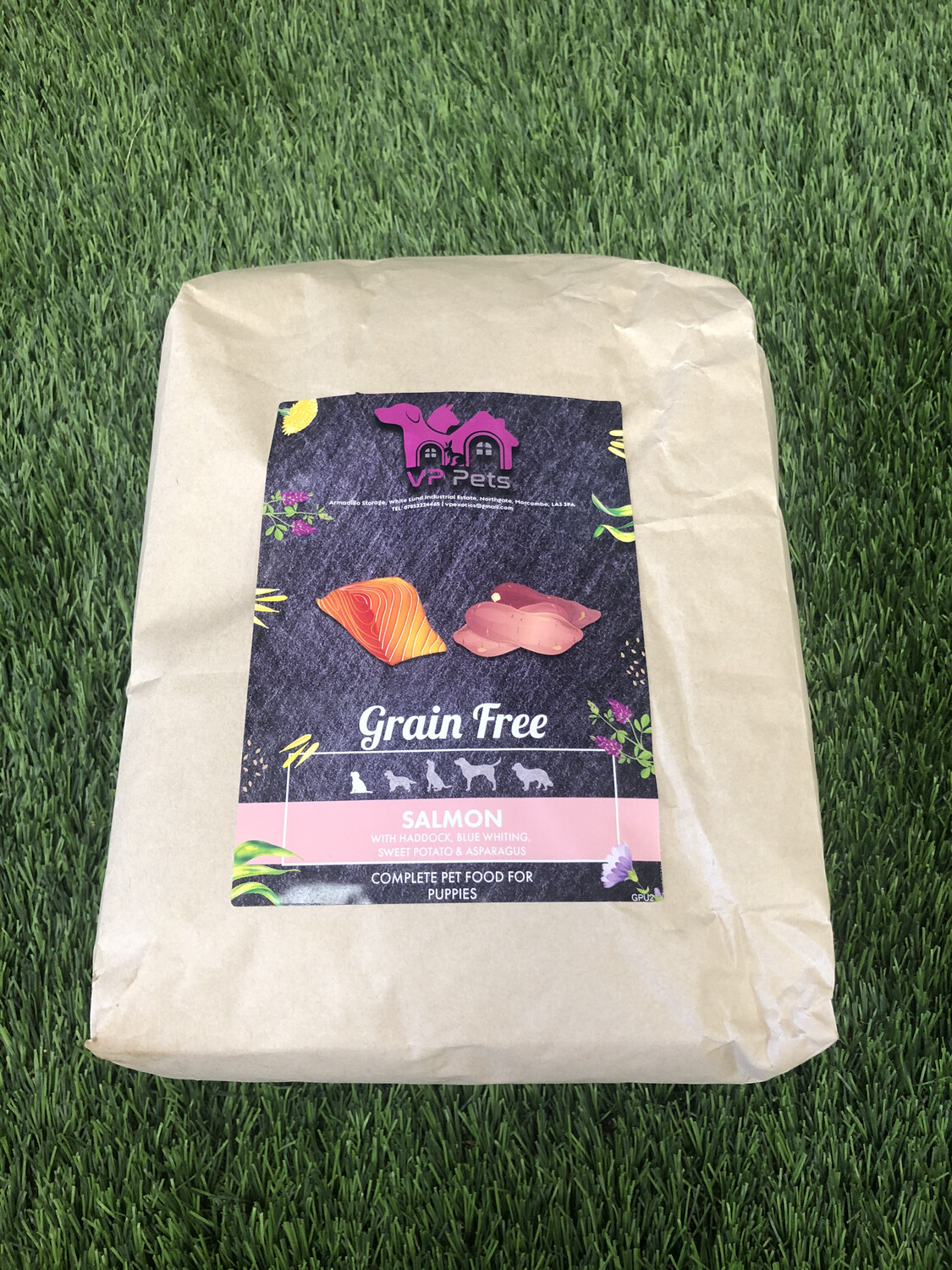 VP Grain Free Puppy Food - Salmon With Haddock & Blue Whiting, Sweet Potato & Asparagus 12kg Including Promotional Offer