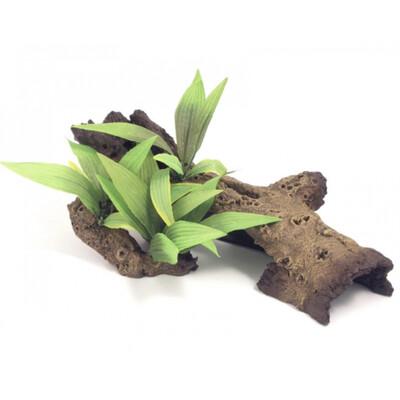 Reptile Vivarium Decor Mopani Wood With Plants Small