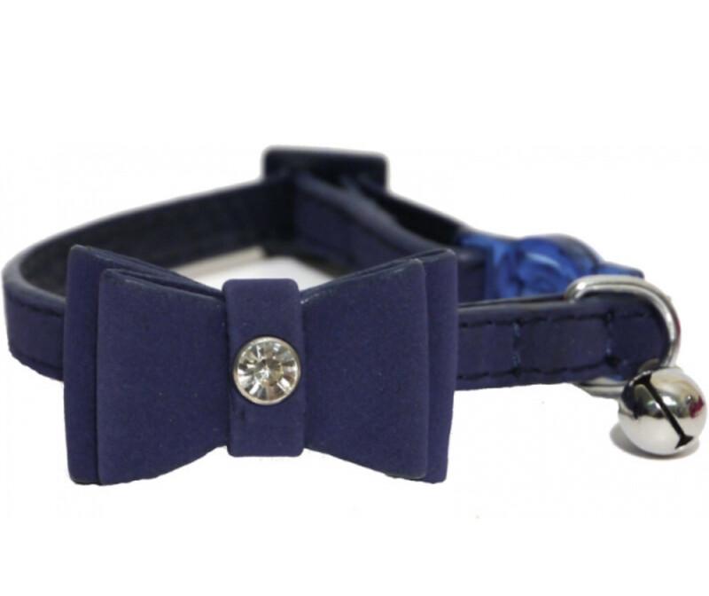 Cat Collar Designer Navy Bow Tie