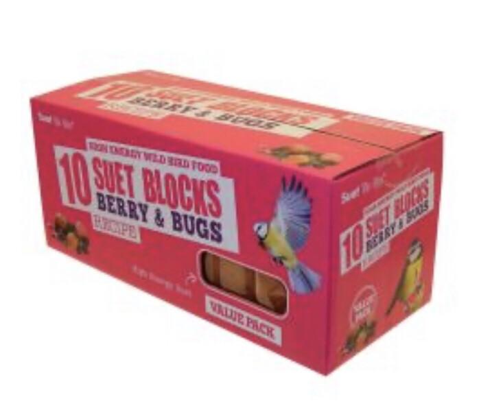 Garden Bird Suet To Go Block Feeder Berry & Bugs Single