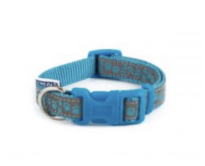 Ancol Fashion Collar Paw Blue Reflective Small 20 - 30 cm