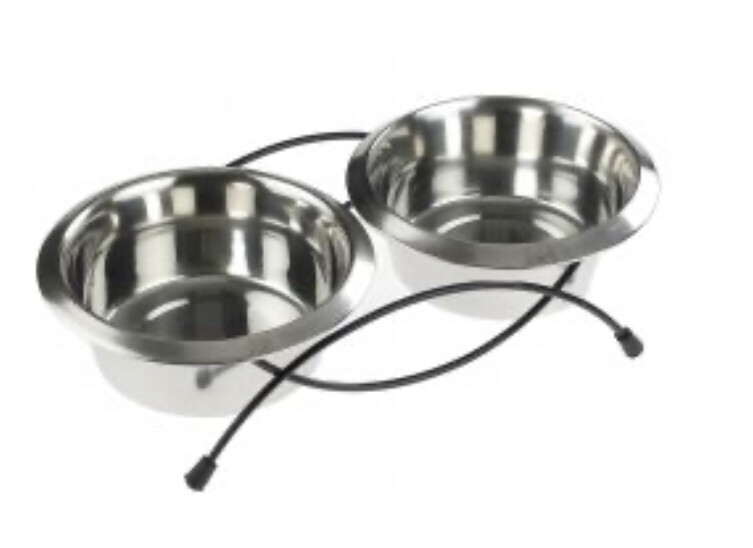 """Classic Stand Raised High Feeder Double Dish  Bowl Large 12"""" 2 X 1600ml"""