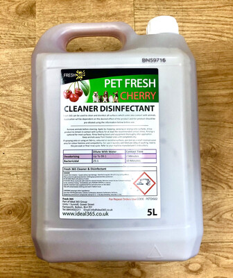 Pet Fresh 5l Multi Surface Disinfectant Cleaner RRP £8.99 Kennels. Hutches.
