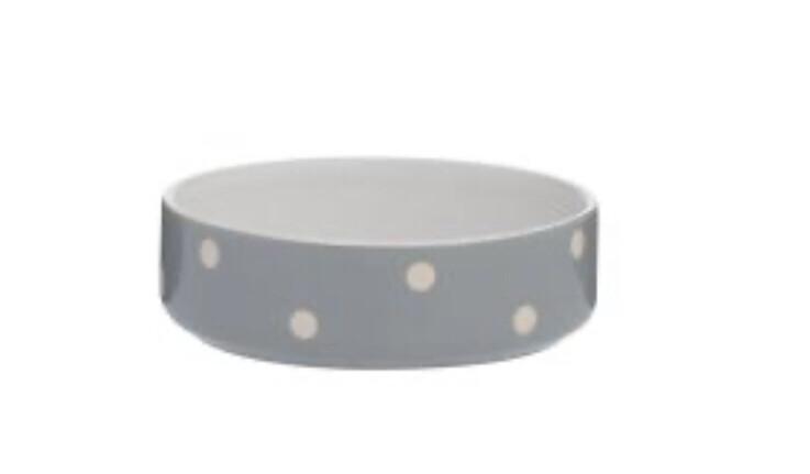 Mason Cash Grey Polka Dot Small Dog Cat Bowl 13cm