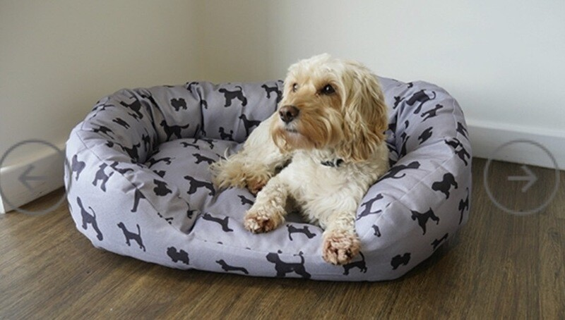 Rosewood Comfy Dogs Print Grey Oval Bed Small 52cm