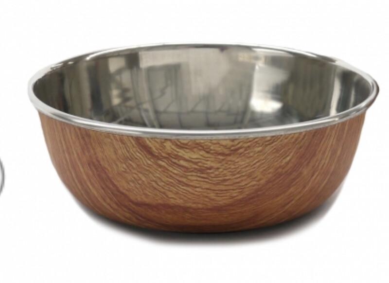 Rosewood Wood Effect Steel Pet Bowl 700ml Small