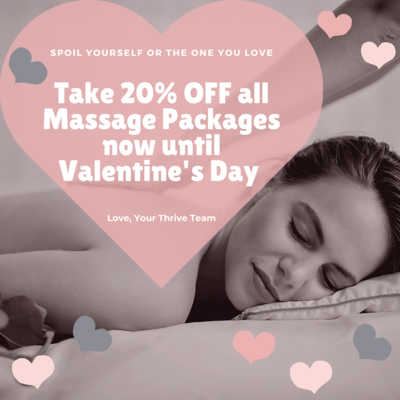 VALENTINE'S DAY SALE 20% OFF 4 60-Minute Massage Therapy Sessions