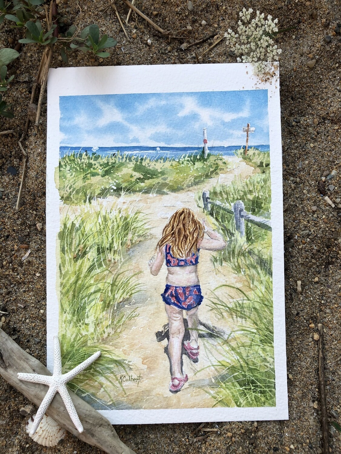 Framed Giclee Print: Walk to the beach
