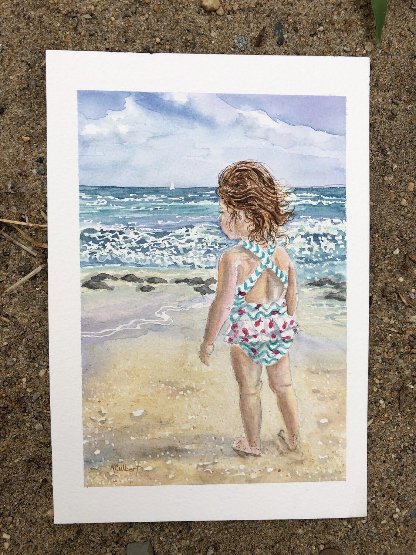 Framed Giclee Print: Little Girl at the Beach