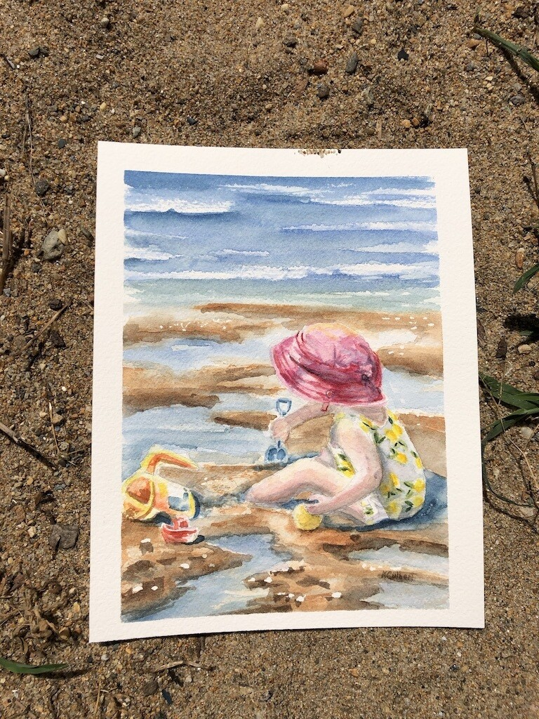 5x7 Giclee Print: Playing in the Sand Unframed