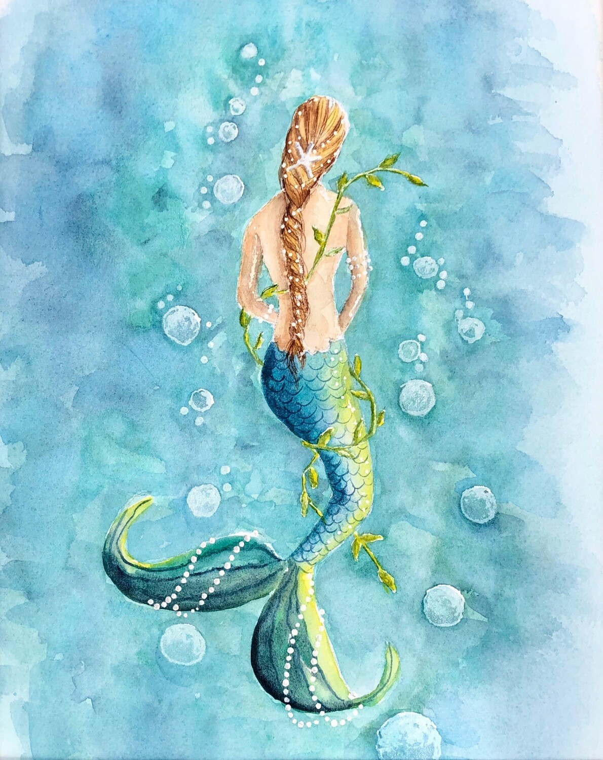 5x7 Giclee Print: Bubbly Mermaid Unframed