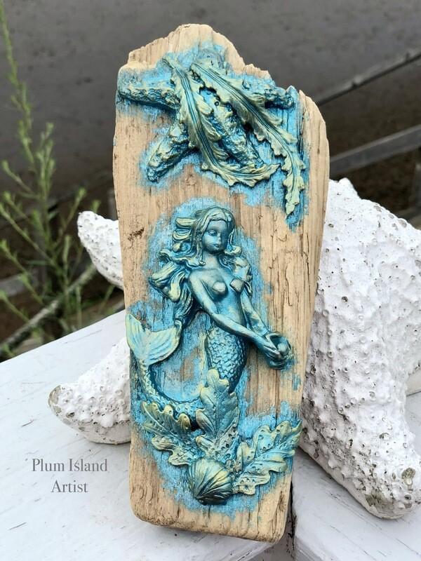 Mermaid on Driftwood Turquoise
