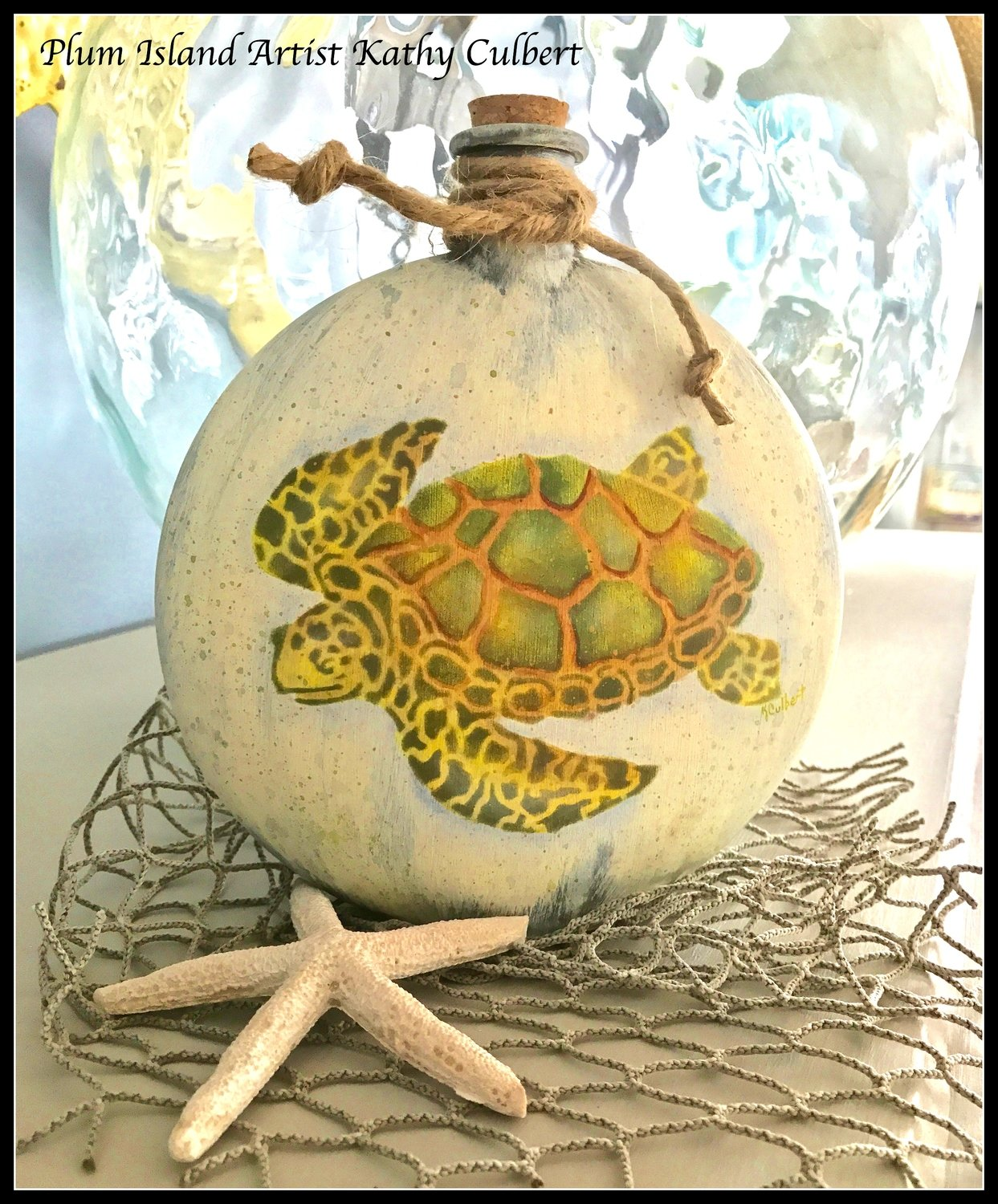Hand-Painted Turtle Bottle