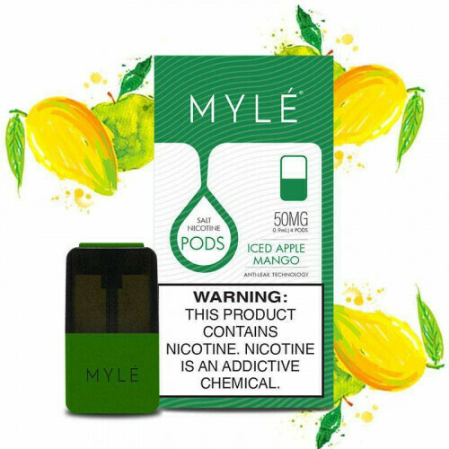 Myle Iced Apple Mango Replacement Pods (for Magnetic Myle Only) - 50MG - بودات تفاح مع مانجو باردة لجهاز سحبة السيجارة مايلي المغناطيسي فقط