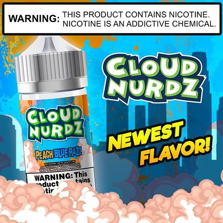 Cloud Nurdz - Peach Bluerazz كلاود  نيردز خوخ وتوت أزرق