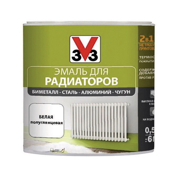 Эмаль для радиаторов V33 RENOVATION (Decolab) 0,5 л