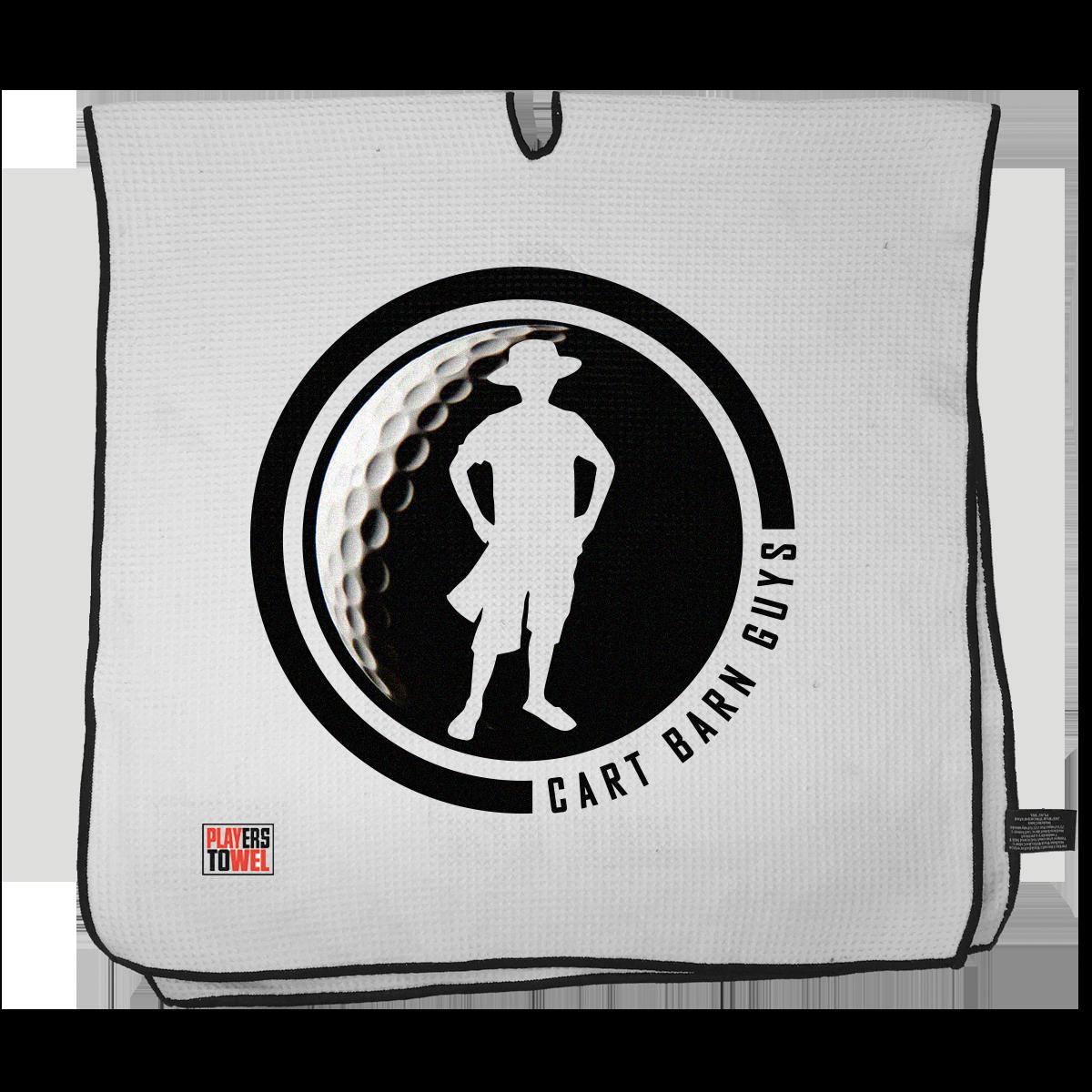 Black Golf Ball Cart Barn Guy Player Towel