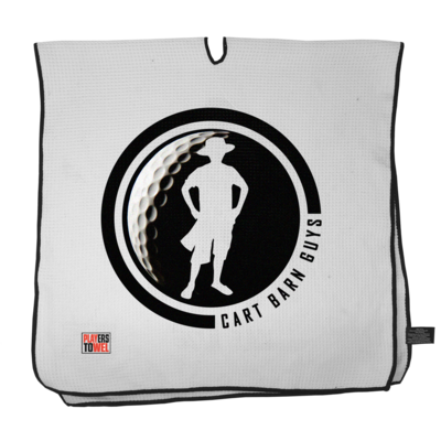 Black Golf Ball Cart Barn Guy Player Towel